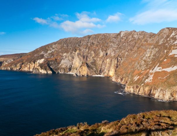 A sunny day looking out over slieve league sea cliffs