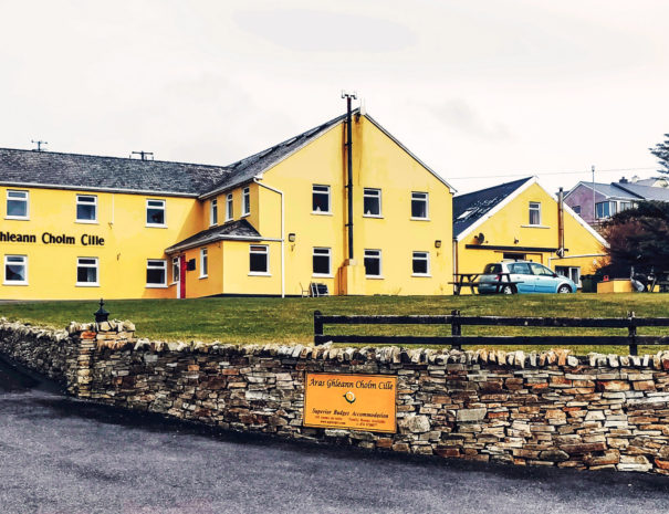 Aras GCC is a Donegal B&B. This shows a picture of our yellow building from across the street