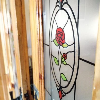 Simple stained glass entry way to our kitchen