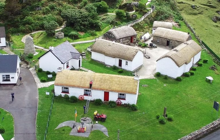 a bird's eye vie of Glencolmcille folk village, showing old folk houses.