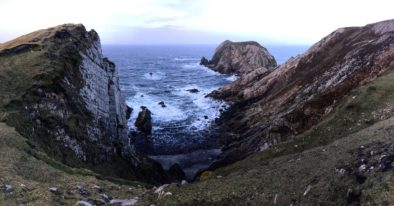 A sweeping rocky coastline at Port Donegal