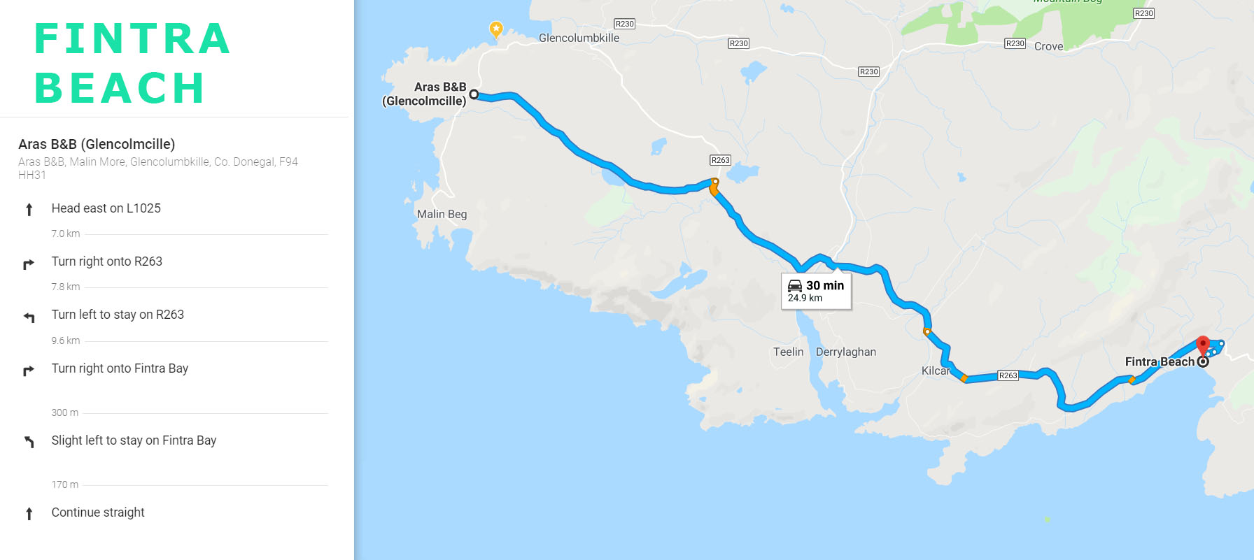 Directions from Aras BnB to Fintra Beach in Killybegs
